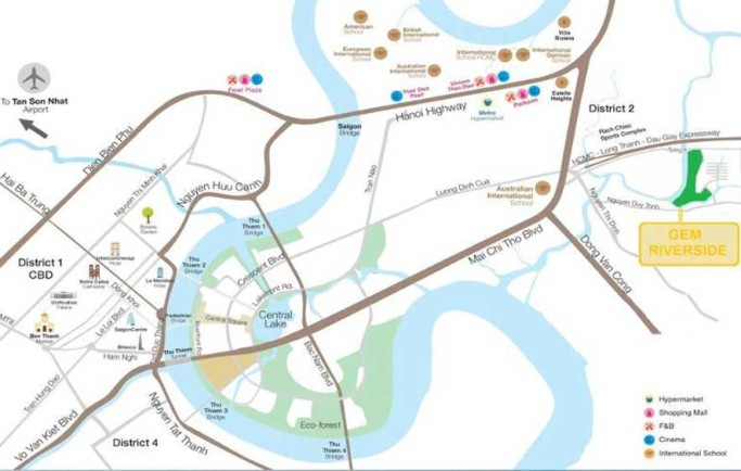 Địa điểm vàng của lá phổi xanh Gem Riverside Đất Xanh quận 2