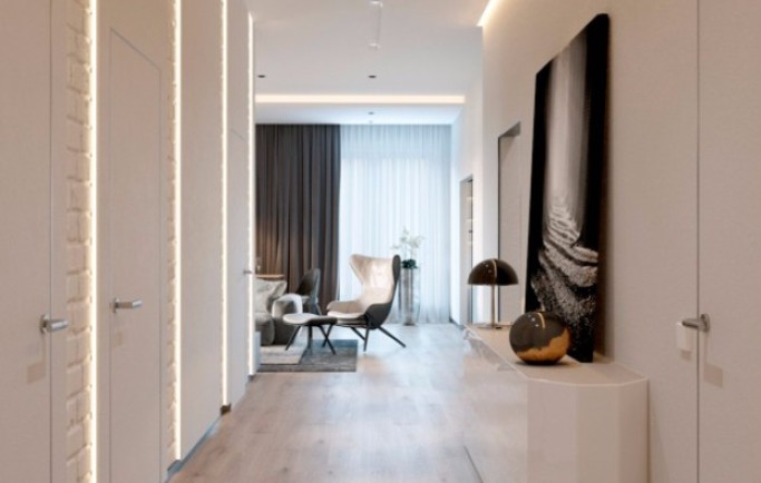 Tham khảo về căn phòng khách mở hiện đại đáng ngưỡng mộ ở Minsk